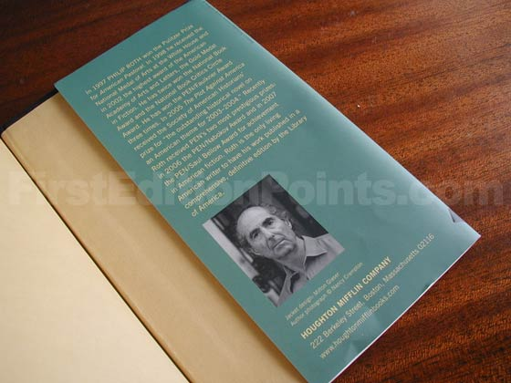 Picture of the back dust jacket flap for the first edition of Indignation.