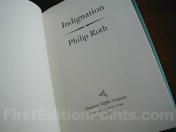 Picture of the first edition title page for Indignation.