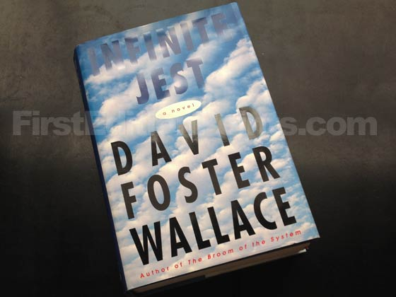 Picture of the 1996 first edition dust jacket for Infinite Jest. Photo courtesy of Bryan