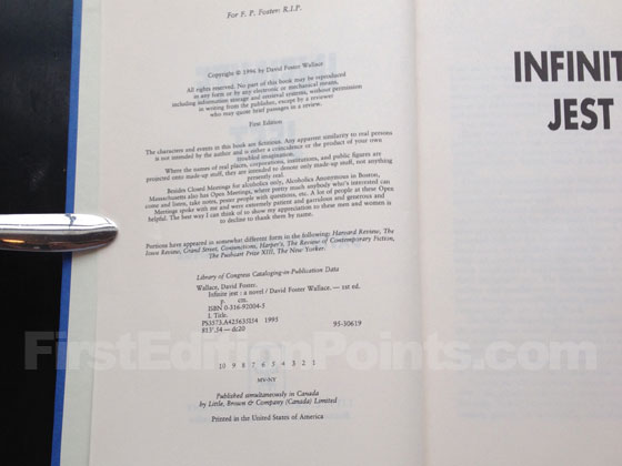 Picture of the first edition copyright page for Infinite Jest. Photo courtesy of Bryan