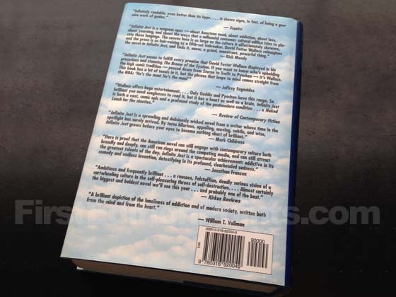 Picture of the back dust jacket for the first edition of Infinite Jest with William