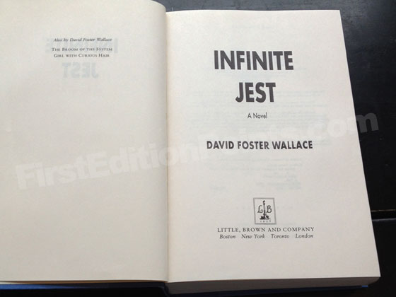 Picture of the first edition title page for Infinite Jest. Photo courtesy of Bryan