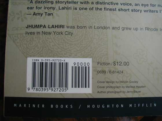 The price of $12.00 is on the back of the first edition of Interpreters of Maladi