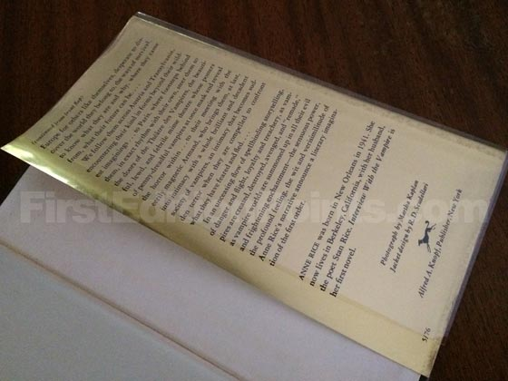 Picture of the back dust jacket flap for the first edition of Interview with the Vampire.