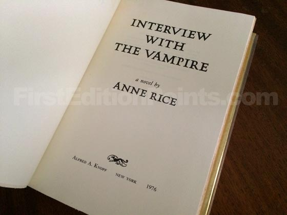 Picture of the first edition title page for Interview with the Vampire.