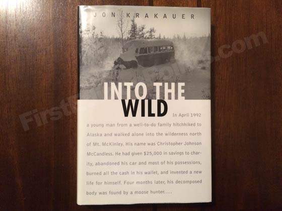 Picture of the 1996 first edition dust jacket for Into the Wild.