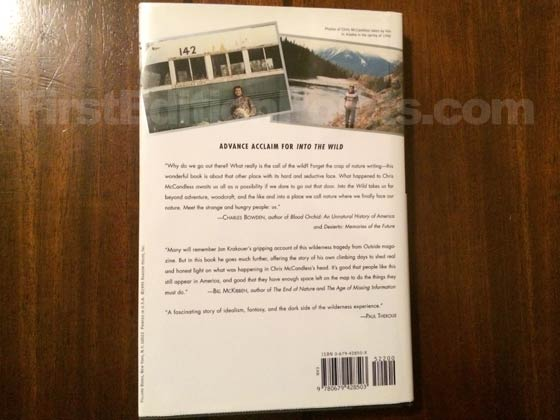 Picture of the back dust jacket for the first edition of Into the Wild.