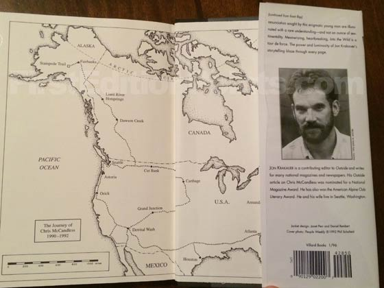 Picture of the back dust jacket flap for the first edition of Into the Wild.