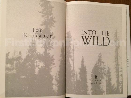 Picture of the first edition title page for Into the Wild.