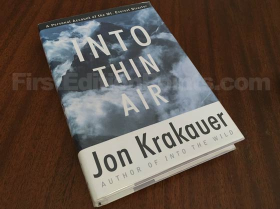 Picture of the 1997 first edition dust jacket for Into Thin Air.
