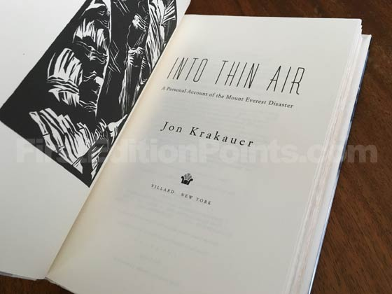Picture of the first edition title page for Into Thin Air.