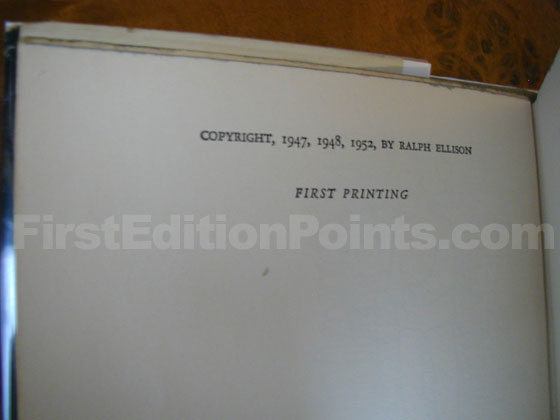 Picture of the first edition copyright page for Invisible Man.