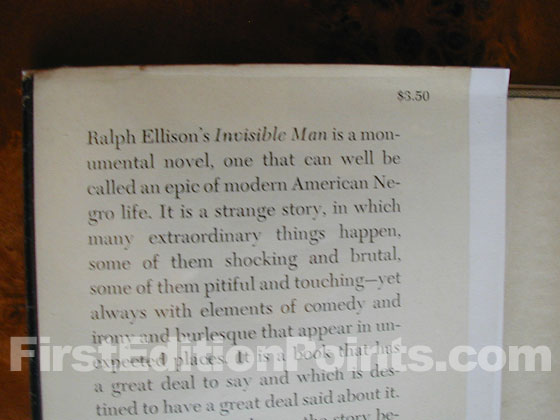 The first edition dust jacket of Invisible Man has a price of $3.50 and a blurb that