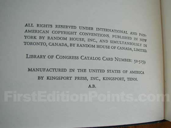 "The presence of ""A.B."" on the bottom of the copyright page is sometimes thought to be a"
