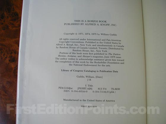 Picture of the first edition copyright page for J R.