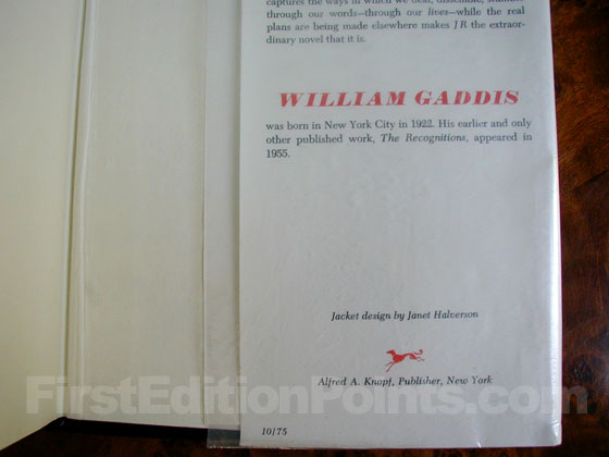 Picture of the back dust jacket flap for the first edition of J R.