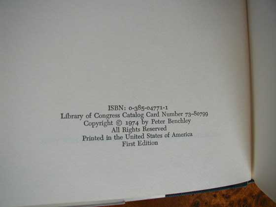 Picture of the first edition copyright page for Jaws.