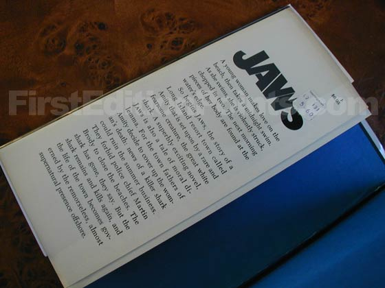 Picture of dust jacket where original $6.95  price is found for Jaws.