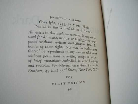 Picture of the first edition copyright page for Journey in the Dark.