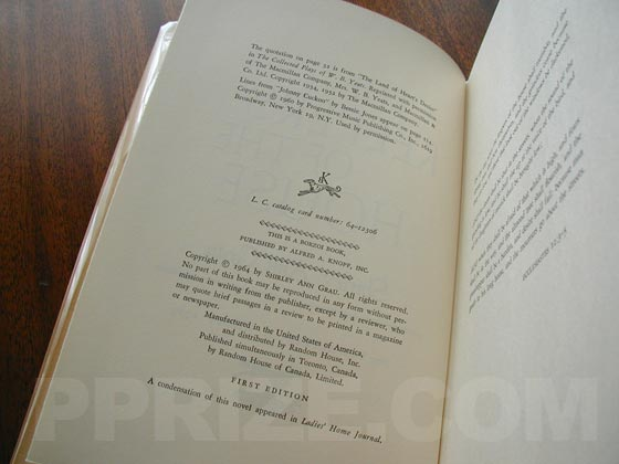 Picture of the first edition copyright page for The Keepers of the House.