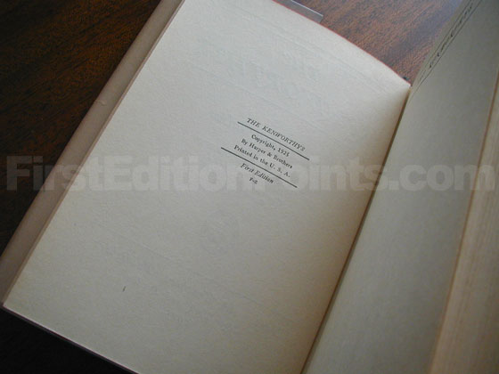 Picture of the first edition copyright page for The Kenworthys.