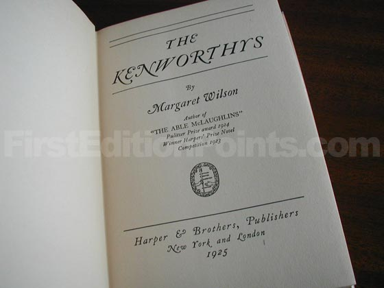 Picture of the first edition title page for The Kenworthys.