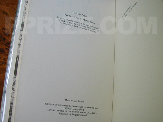 Picture of the first edition copyright page for The Killer Angels.