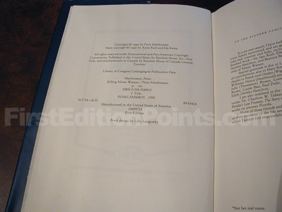 Picture of the first edition copyright page for Killing Mister Watson.