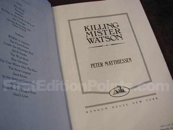 Picture of the first edition title page for Killing Mister Watson.