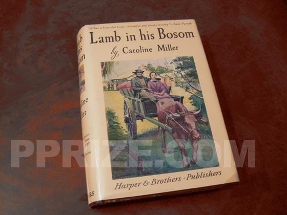 Picture of the 1933 first edition dust jacket for Lamb in his Bosom.