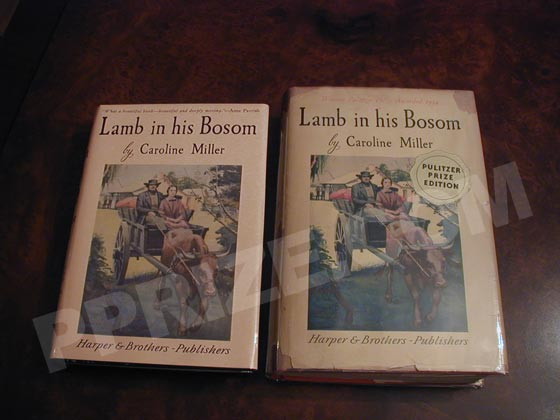 This photo contrasts the first edition dust jacket with that from a sixteenth printing
