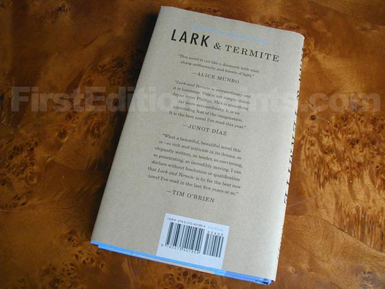 Picture of the back dust jacket for the first edition of Lark and Termite.