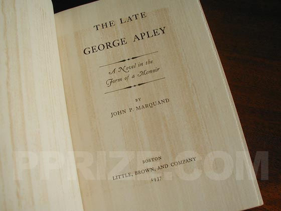 Picture of the title page for The Late George Apley.
