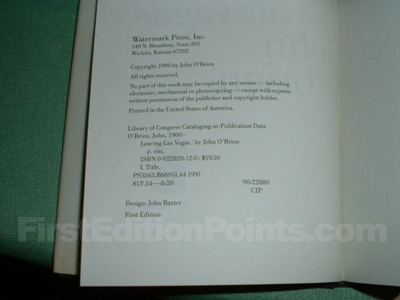 Picture of the first edition copyright page for Leaving Las Vegas.