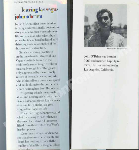 Picture of the front and back flaps for the first edition dust jacket of Leaving Las