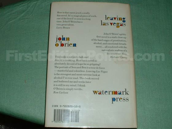 Picture of the back dust jacket for the first edition of Leaving Las Vegas.