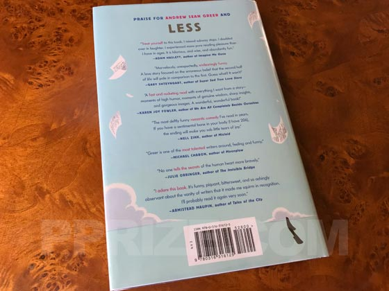 Picture of the back dust jacket for the first edition of Less.