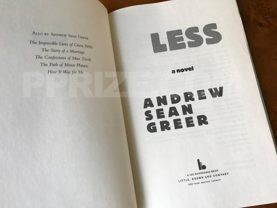Picture of the first edition title page for Less.