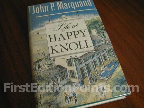Picture of the 1957 first edition dust jacket for Life at Happy Knoll.