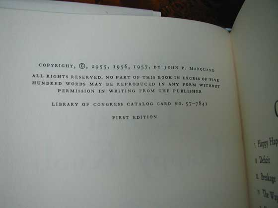 Picture of the first edition copyright page for Life at Happy Knoll.