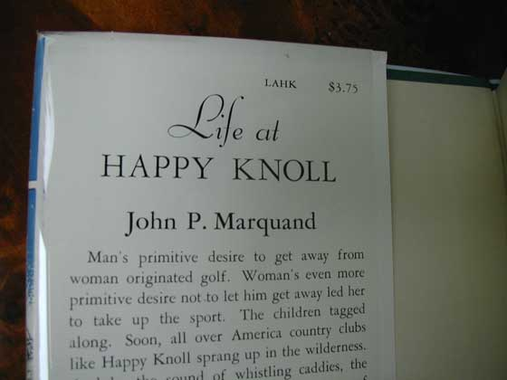 Picture of dust jacket where original $3.75 price is found for Life at Happy Knoll.
