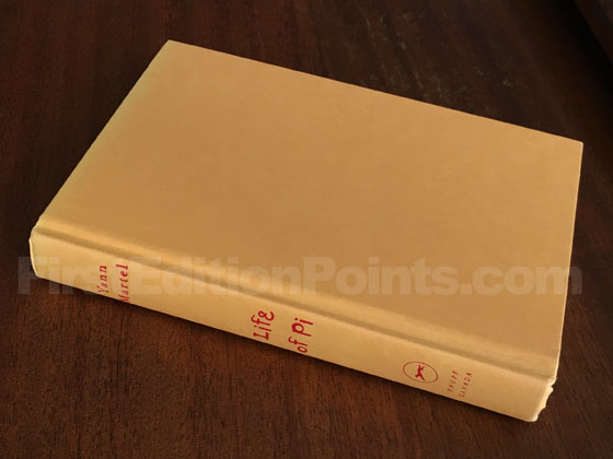 Picture of the first edition Alfred A. Knopf boards for Life of Pi.
