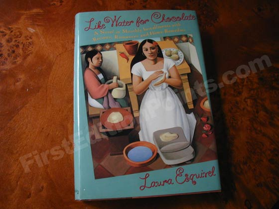Picture of the 1992 first edition dust jacket for Like Water for Chocolate.