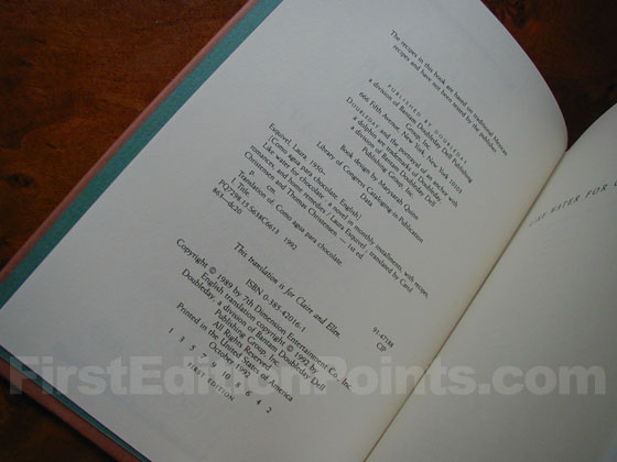 Picture of the first edition copyright page for Like Water for Chocolate.