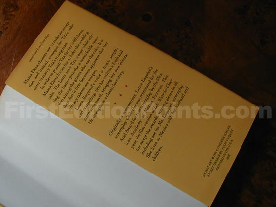 Picture of the back dust jacket flap for the first edition of Like Water for Cho