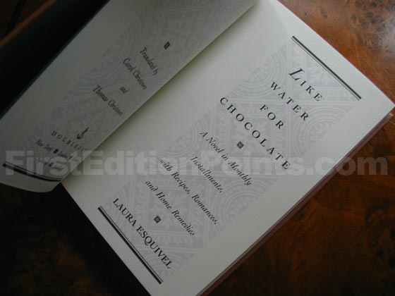 Picture of the first edition title page for Like Water for Chocolate.
