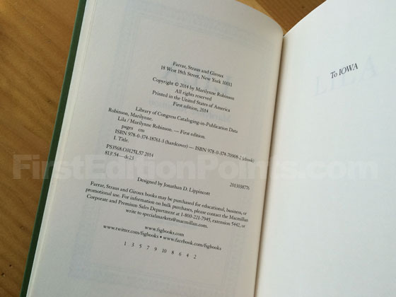 Picture of the first edition copyright page for Lila.