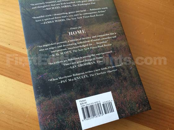 Picture of the back dust jacket for the first edition of Lila.