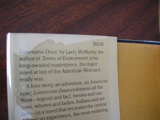 Picture of dust jacket where original $18.95 price is found for Lonesome Dove.