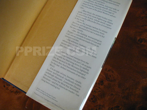 Picture of the back dust jacket flap for Lonesome Dove.